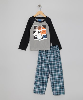 Gray & Blue Sport Plaid Pajama Set - Boys