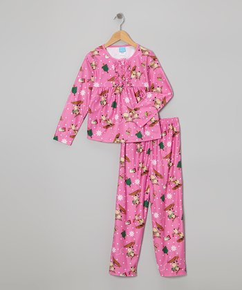 Pink Silly Reindeer Pajama Set - Toddler & Girls