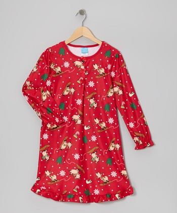 Red Silly Reindeer Nightgown - Girls