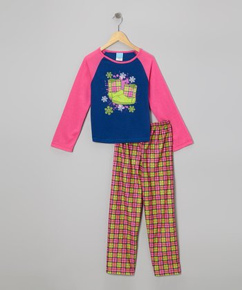 Pink Plaid Boot Pajama Set - Girls