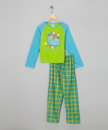 Green Plaid Boot Pajama Set - Girls
