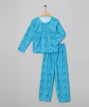 Blue Cheetah Flannel Babydoll Pajama Set - Girls