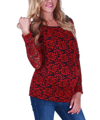 Red Floral Lace Overlay Maternity Top