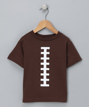 Brown & White Football Tee - Toddler & Kids