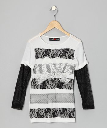 White & Black 'Love' Lace Layered Tee - Girls