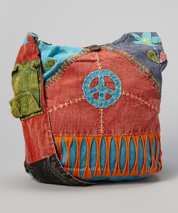 Black & Orange Peace Sign Crossbody Bag