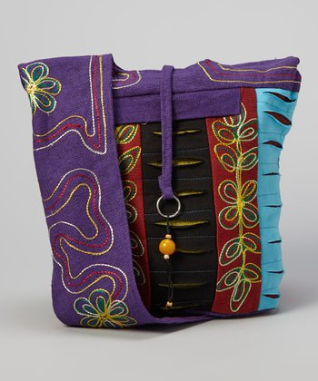 Black & Purple Flower Crossbody Bag