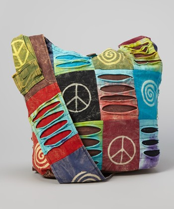 Neon Green & Blue Peace Sign Crossbody Bag