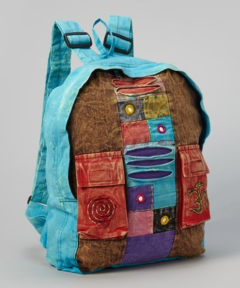 Blue & Brown Bohemian Backpack