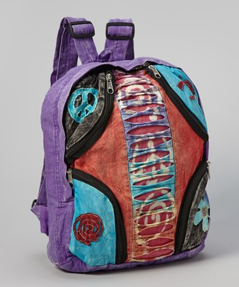 Purple & Red Peace Patchwork File Backpack