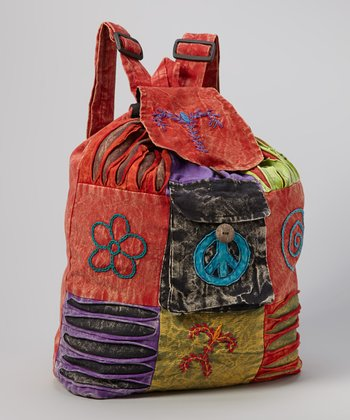 Red & Black Peace Patchwork File Backpack
