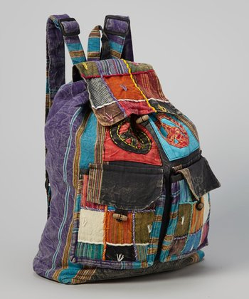 Denim Peace Patchwork File Backpack