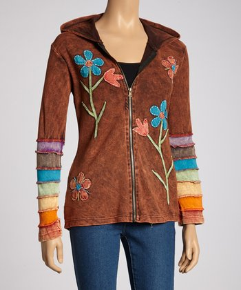 Brown Floral Zip-Up Hoodie
