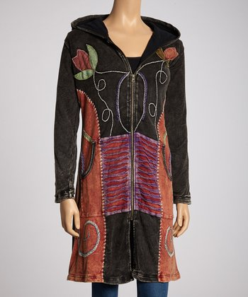 Black Floral Patchwork Duster