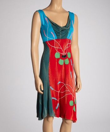 Red & Blue Floral Drape Neck Dress
