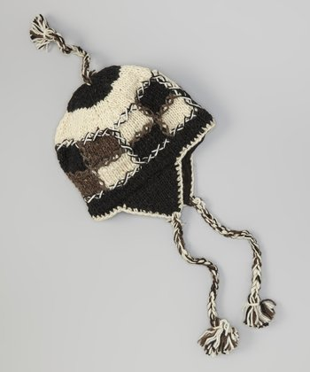 Black Patchwork Wool Earflap Beanie