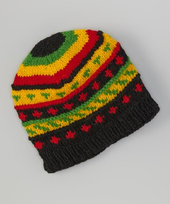Black & Red Rasta Wool Beanie
