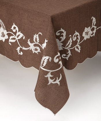 Brown Bella Flora Embroidered Linen-Look Tablecloth