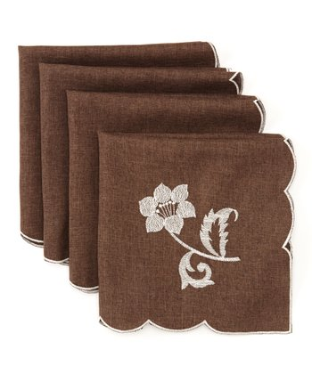 Brown Bella Flora Embroidered Linen-Look Napkin - Set of Four