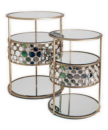Jeweled Mirror End Table Set