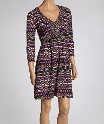 Purple Ikat Three-Quarter Sleeve Dress