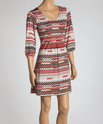 Red Zigzag V-Neck Dress - Women