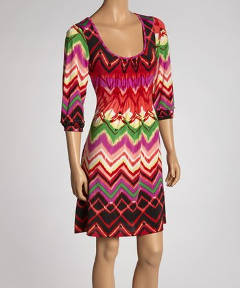 Red & Green Zigzag Scoop Neck Dress