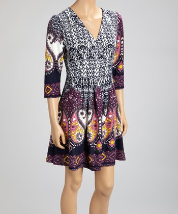 White & Purple Paisley Surplice Dress - Women