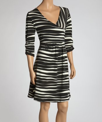 Black & White Zebra Surplice Dress