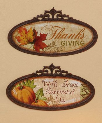 Oval Thanksgiving Wall Art Set