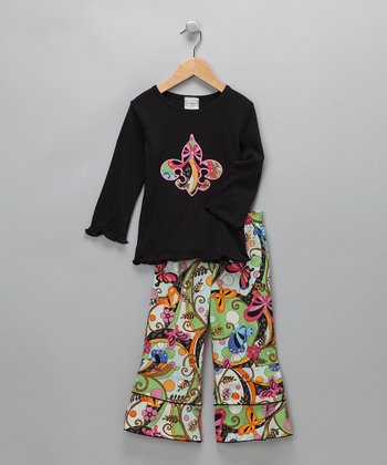 Black Fleur-de-Lis Top & Pants - Toddler & Girls