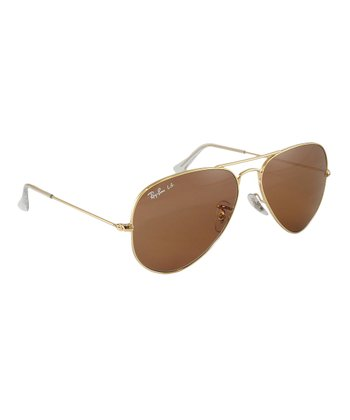 Gold & Brown 58 mm Aviator Large Metal Sunglasses