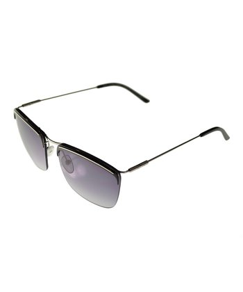 Shiny Black Bracket Semi-Rimless Sunglasses