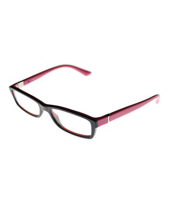 Black & Fuchsia Vivacious Rectangle Eyeglasses