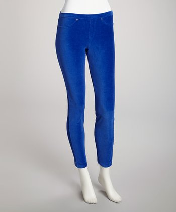 Royal Blue Thin Ribbed Corduroy Leggings