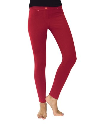 Red Chino Leggings