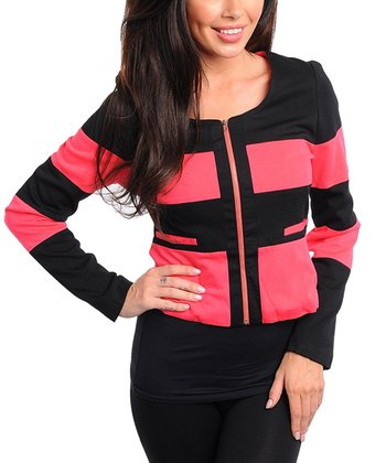 Coral & Black Color Block Jacket