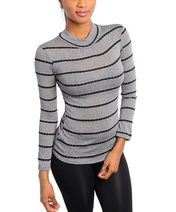 Gray Shimmer Stripe Mock Turtleneck