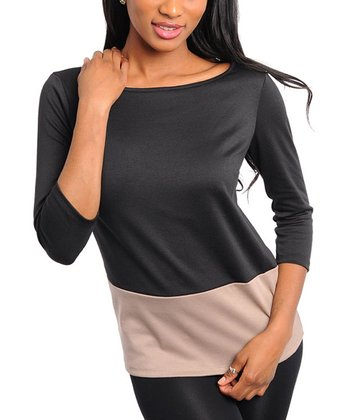 Black & Mocha Three-Quarter Sleeve Top