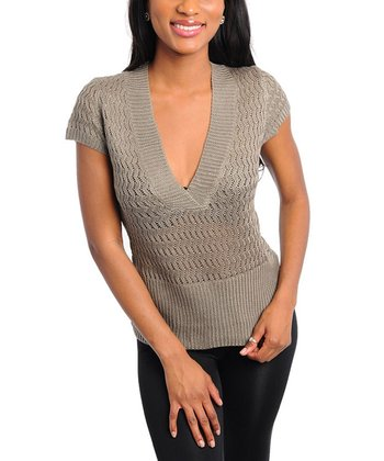 Olive Ribbed V-Neck Top
