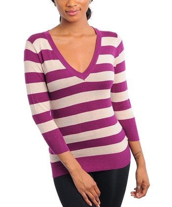 Plum & Oatmeal Stripe Three-Quarter Sleeve Top