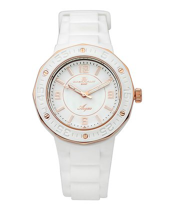 White & Gold Rubber Acqua Watch - Women