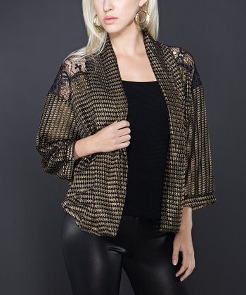 Gold & Lace Panel Perforated Shrug