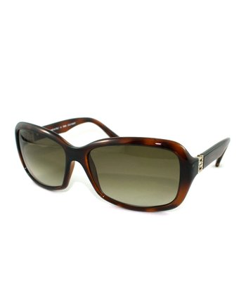 Havana & Brown Horn Rhinestone Butterfly Sunglasses