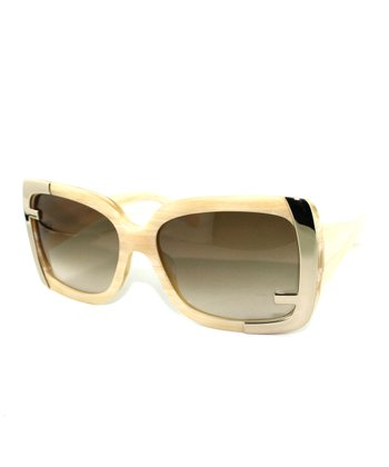 Horn Metal Accent 'F' Butterfly Sunglasses