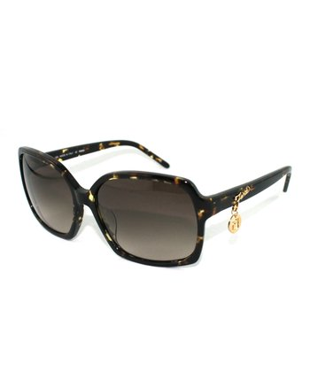 Havana Thin Chain Accent Butterfly Sunglasses