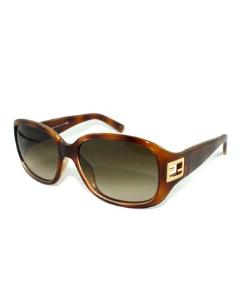 Blonde Havana Cutout Square Sunglasses