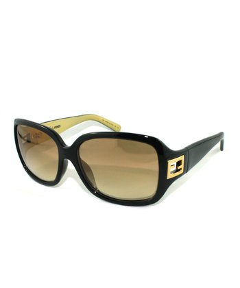 Brown & Gold Contrast Cutout Square Sunglasses