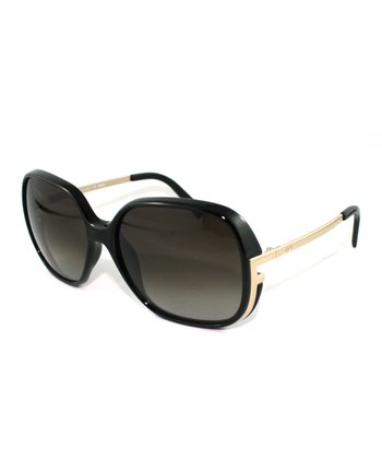 Black & Gold Mod Square Sunglasses