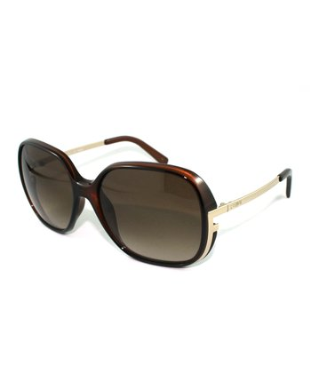 Brown & Gold Mod Square Sunglasses